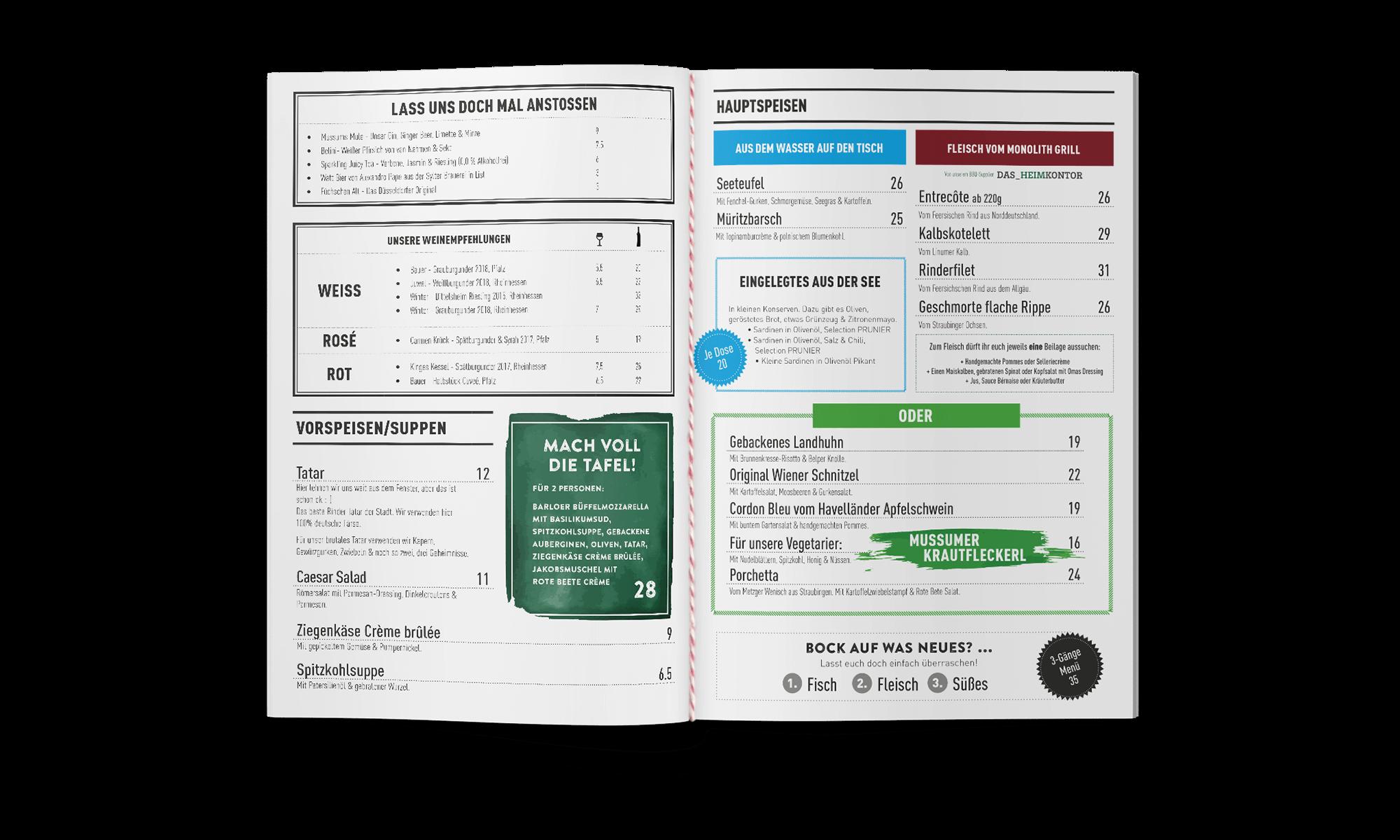 Schau und Horch Speisekarte MussumerKrug 2 - Branding